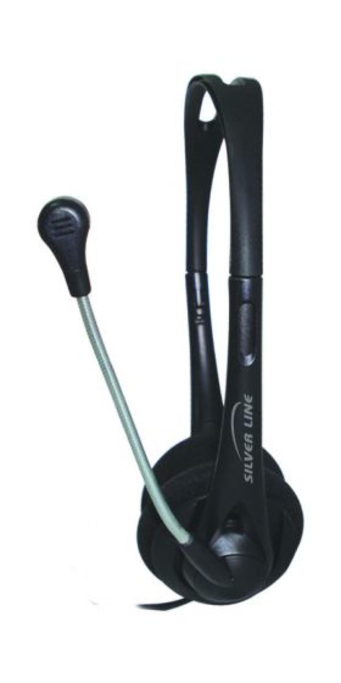 אוזניות+ מיקרופון עם ווליום לשליטת העוצמה HS-11V בצבע שחורSilver Line