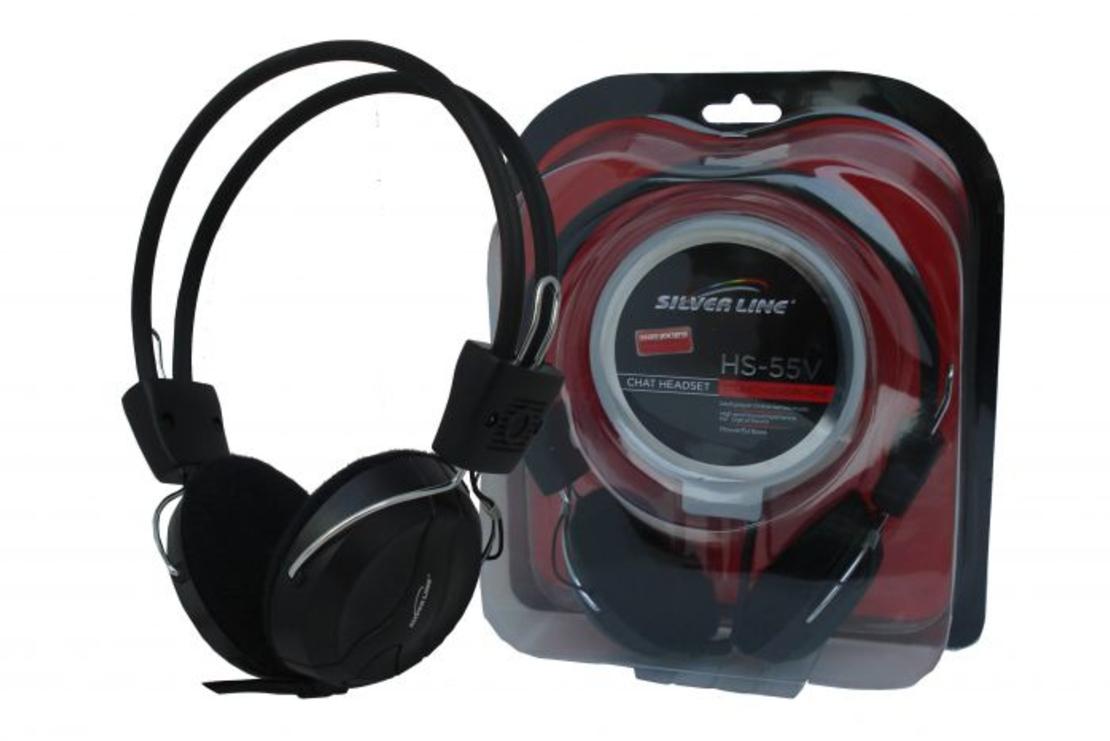 אוזניות+מיקרופון עם ווליום לשליטת עוצמה SL HS-55V בצבע שחור SilverLine
