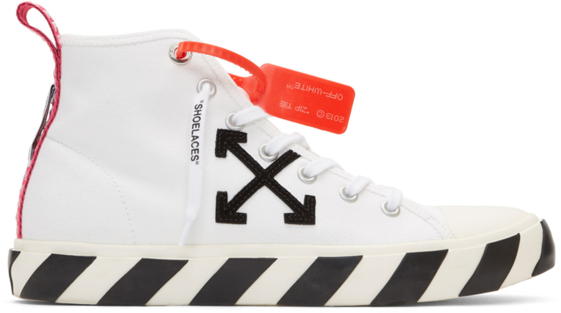 OFF WHITE - WHITE MID TOP SNEAKERS