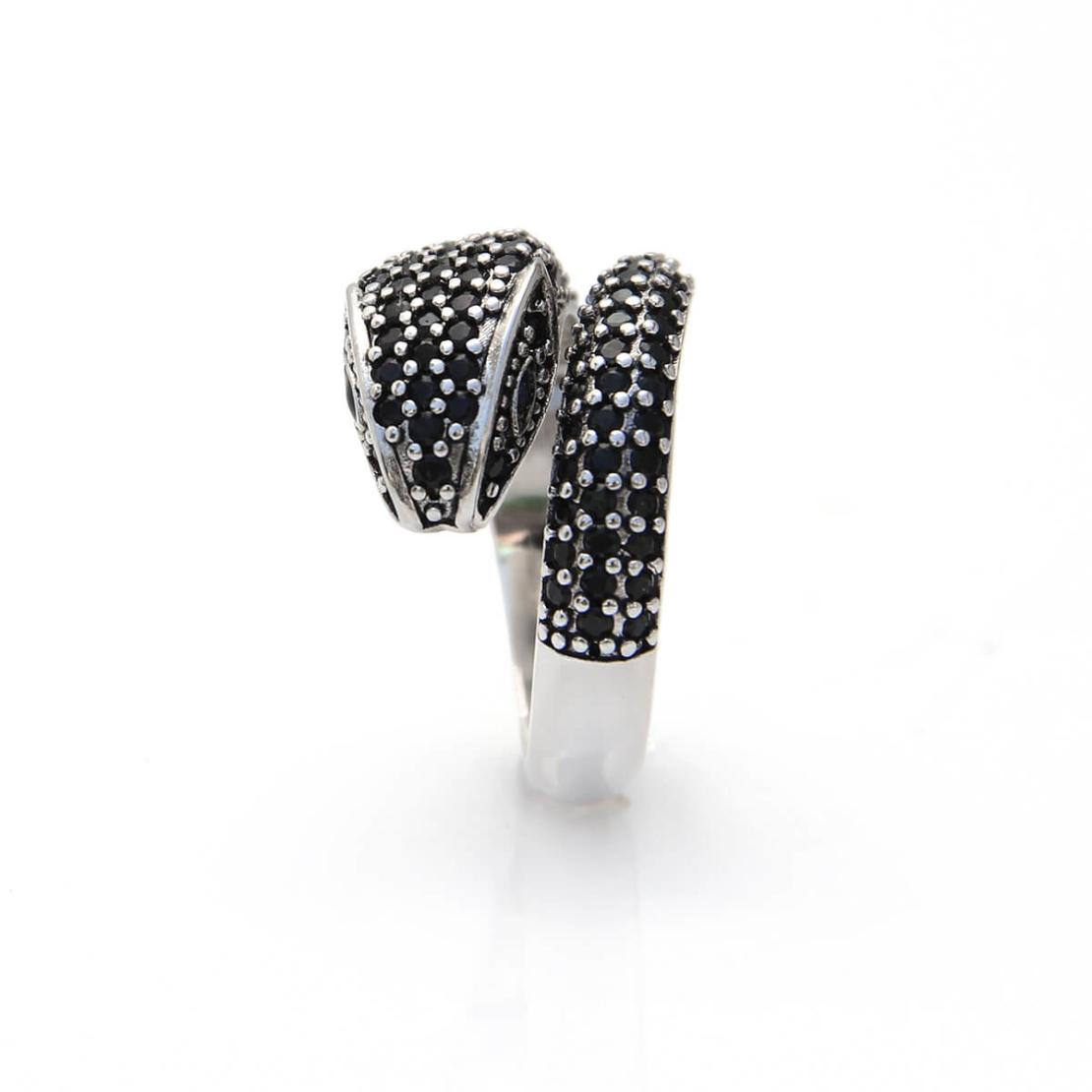 טבעת נחש זירקונים - כסף 925