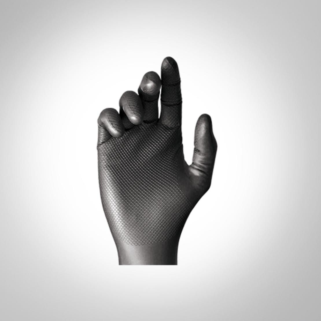 כפפות ניטריל חד פעמיות לעבודות מכניות דגם Grippaz Black