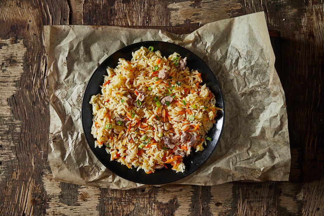 אורז של עופר - אושפלו עם נתחוני טלה ואווז מעושנים - מחיר לקופסא