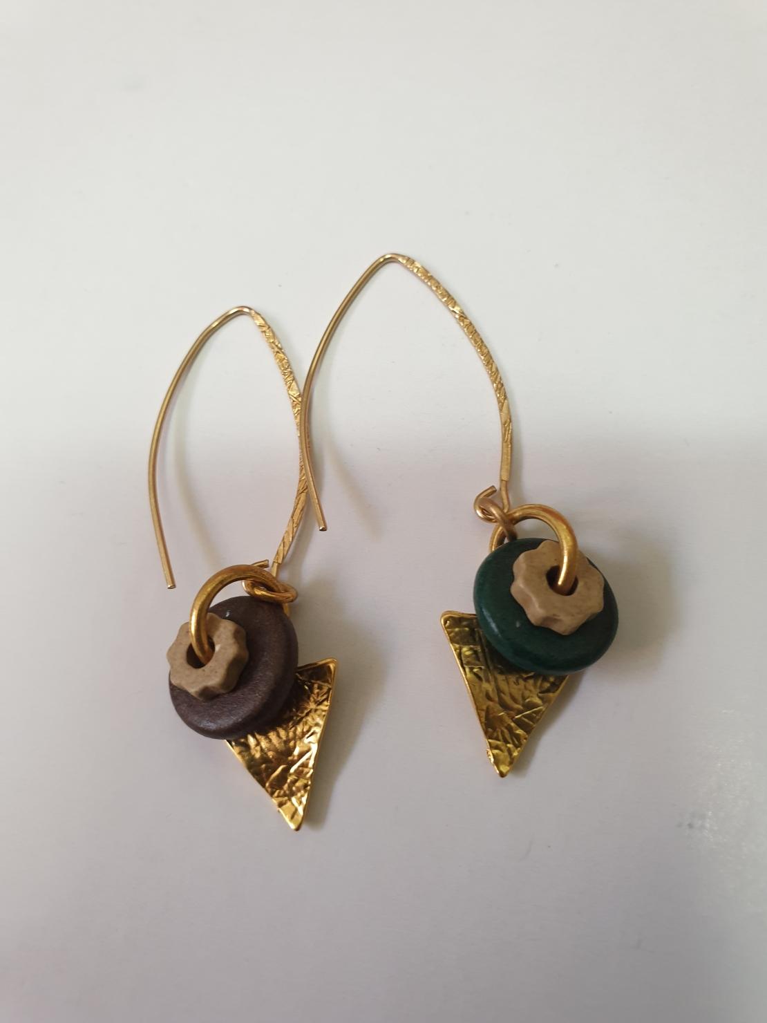 עגיל דיסקיות / משולש זהב