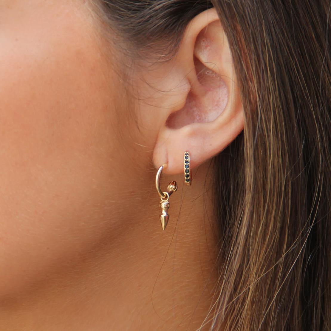 סט עגילים - GOLDEN RING - כסף 925 בציפוי זהב מיקרוני