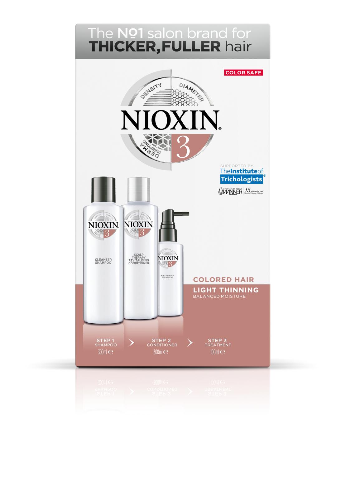NIOXIN קיט טיפול לשיער צבוע ודליל למראה שיער צפוץ וצבע עז-סדרה 3