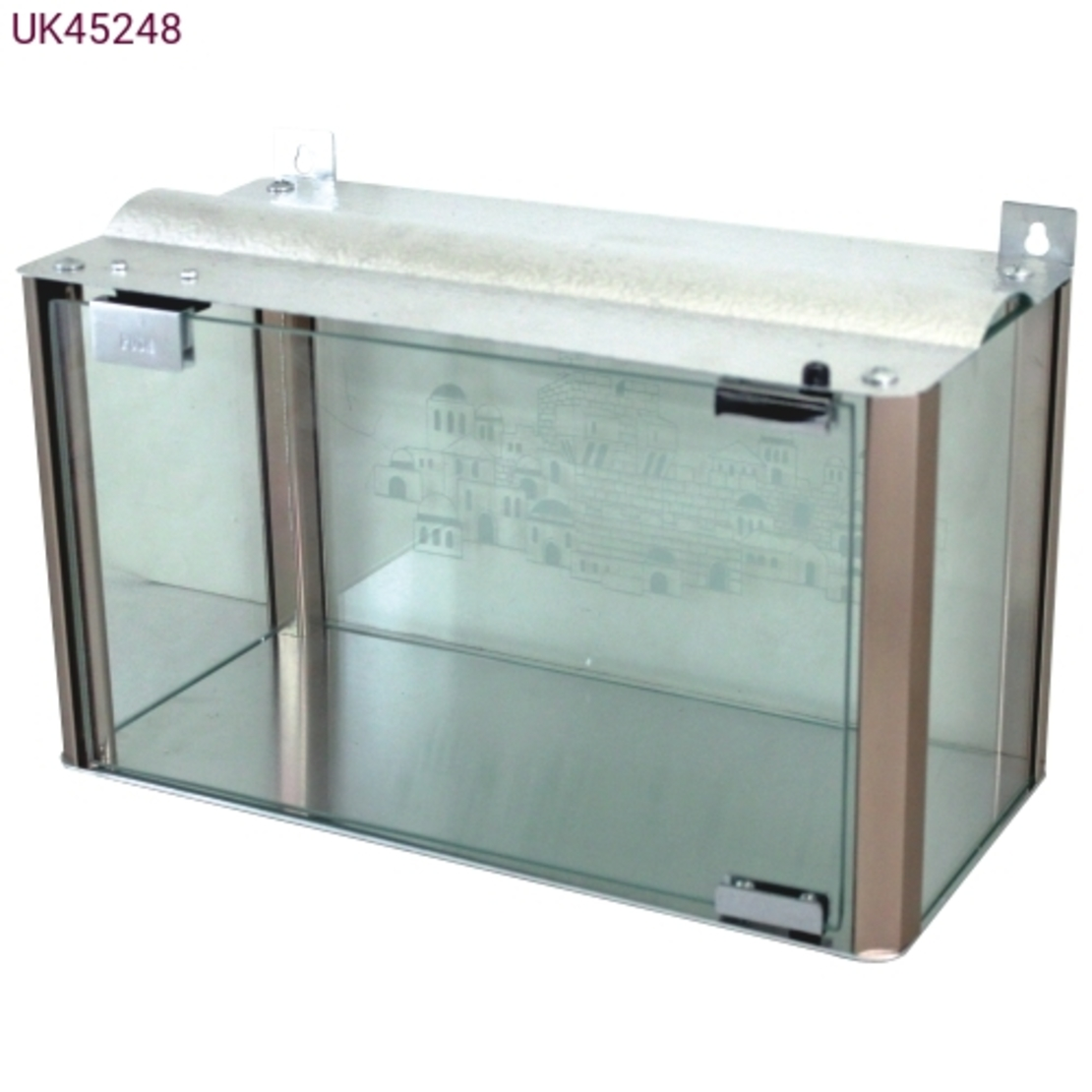בית חנוכייה מהודר מאלומיניום וזכוכית - פרופילים בגוון נחושת 50X50X20 ס'מ