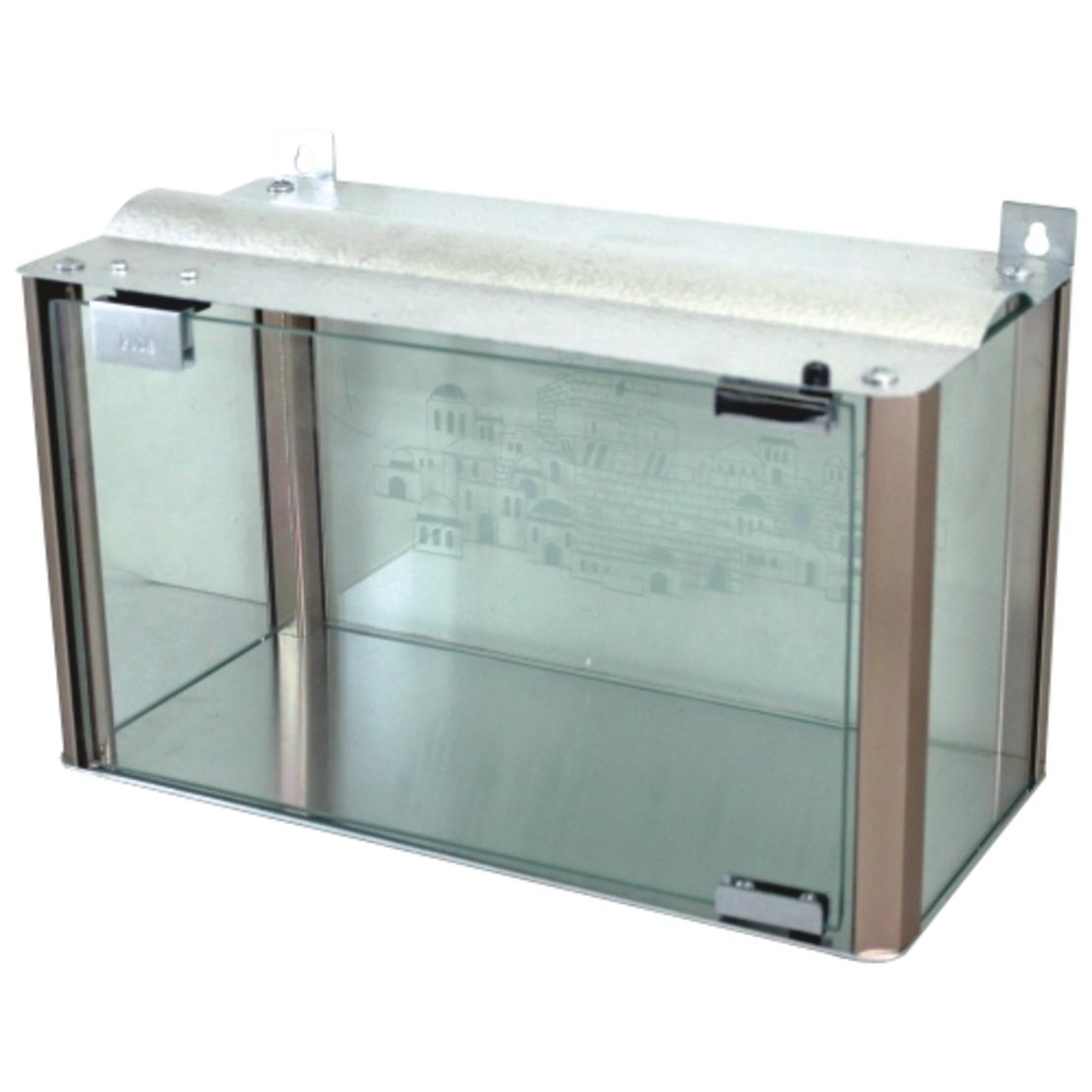 בית חנוכייה מהודר מאלומיניום וזכוכית - פרופילים בגוון נחושת 20X45X18 ס'מ