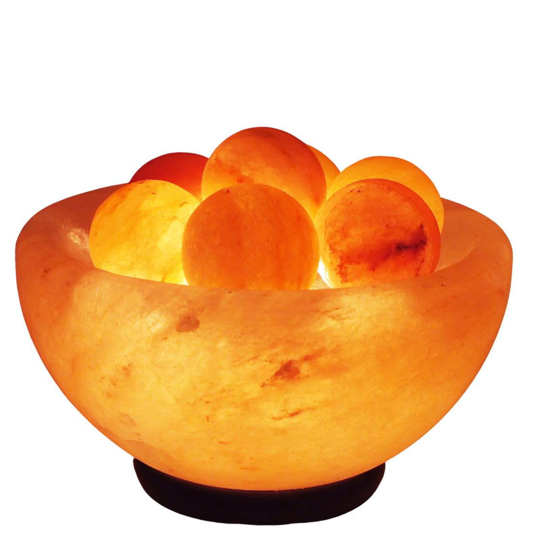 מנורת כדורי מלח הימלאיה בקערת מלח עגולה
