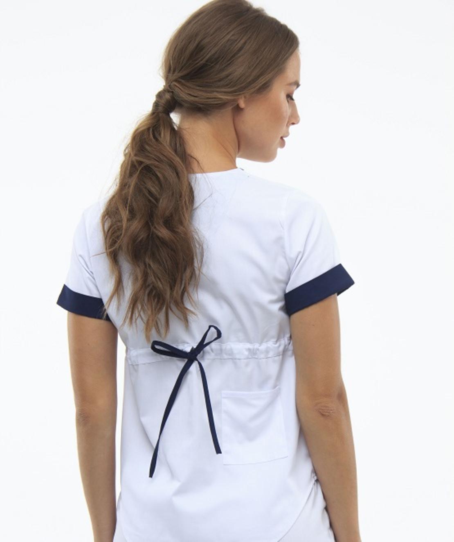 חליפת ניתוחים צבע לבן עם פס כחול 1489