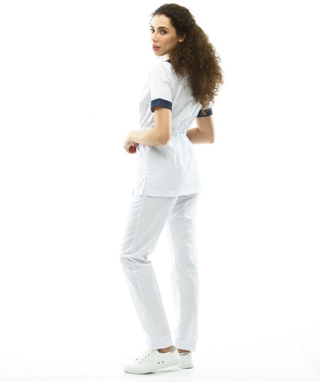 חליפת ניתוחים צבע לבן/כחול כהה 2387