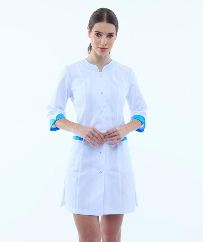 שמלת מדים מעוצבת צבע לבן עם פס כחול 131