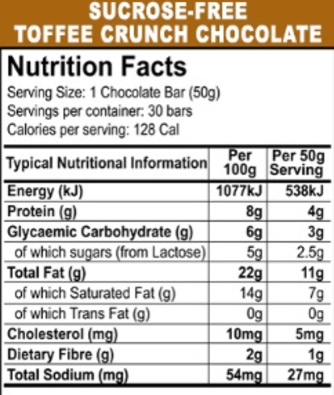 שוקולד 30% חלבי - ללא סוכר עם שבבי בטעם טופי 50 גר'