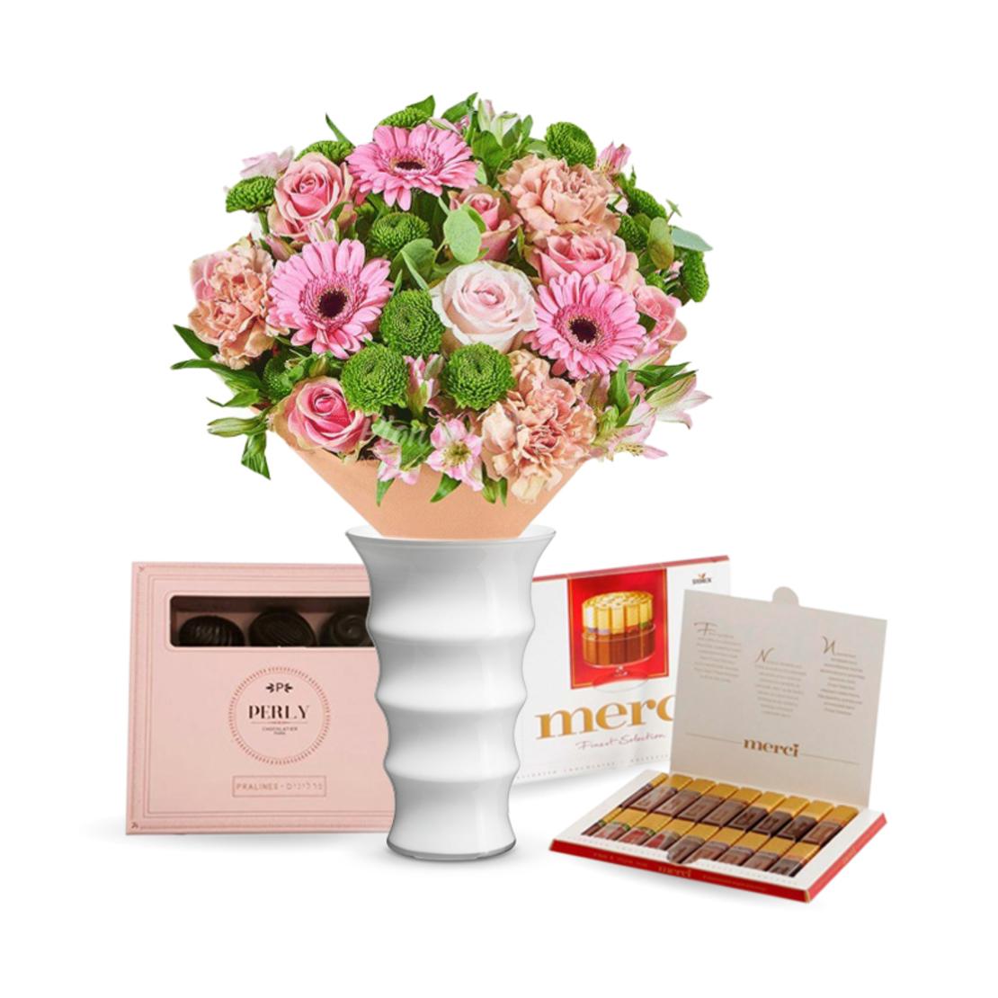 זר פרחים רגשות חמים + Merci + שוקולד (Augusta)
