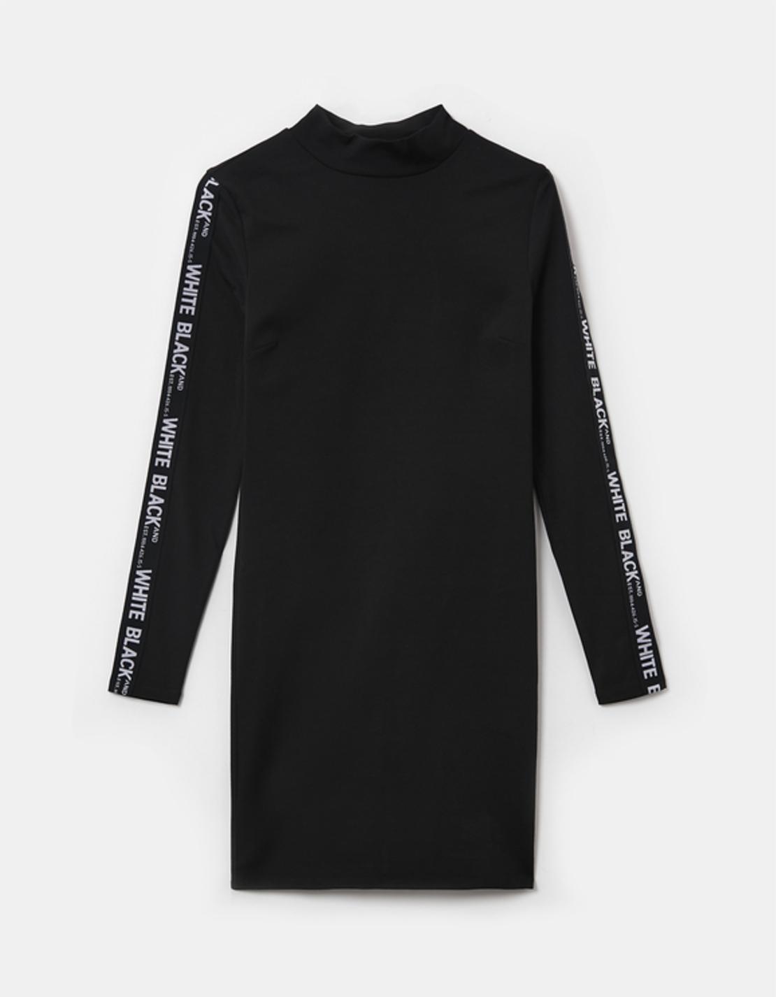 SDRCOFILUS-HH BLK009  שמלה חצי גולף צמודה סרט מודפס