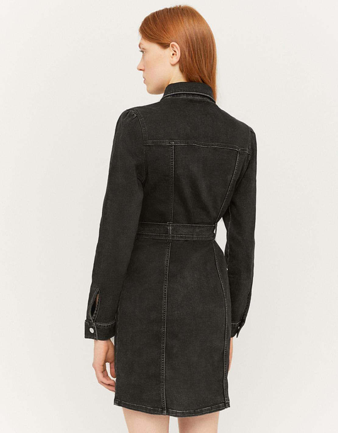 SDRDEGRACE-HHU BLK006 שמלת ג'ינס לייקרה כפתורים וחגורה
