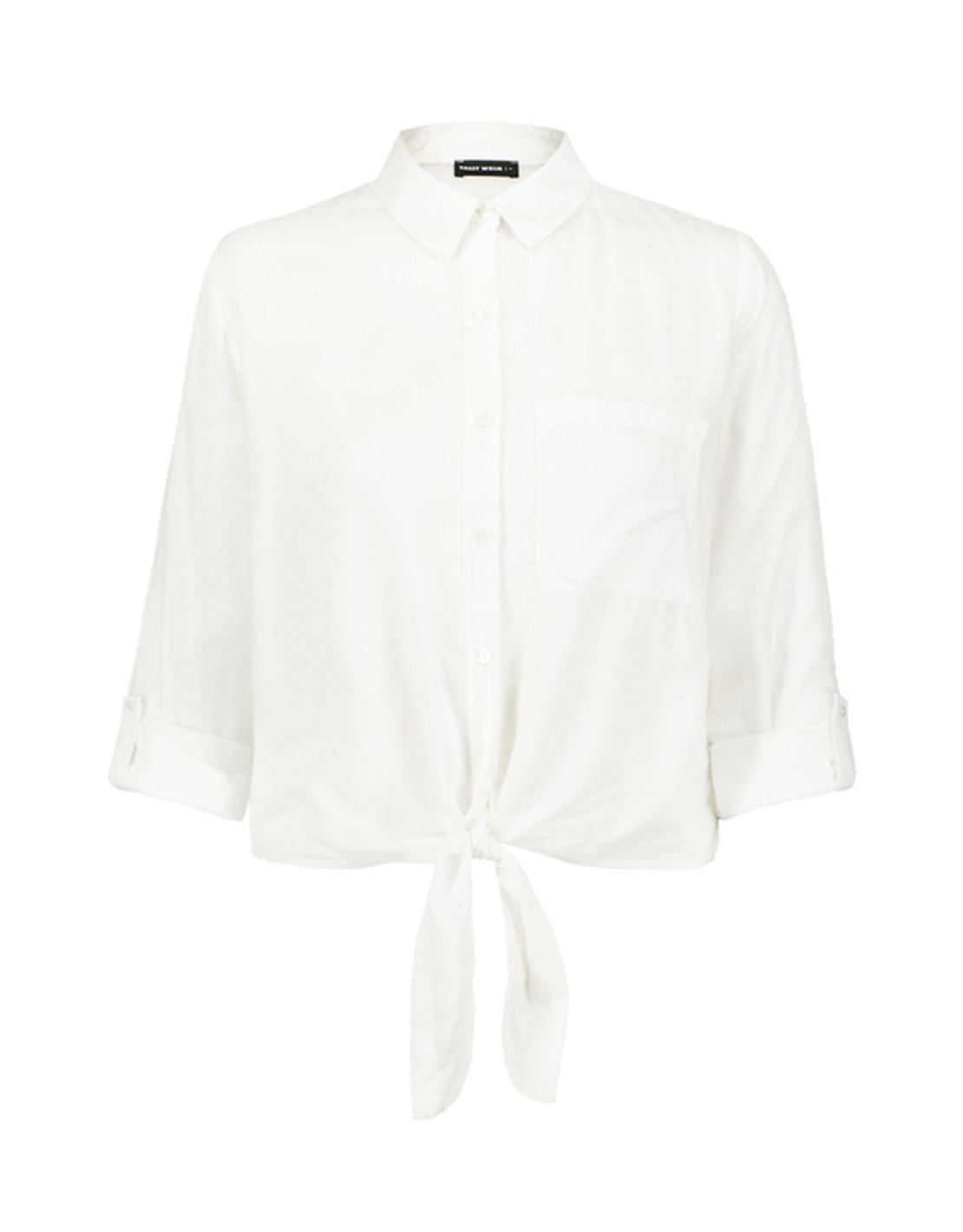 SWSMOFORUXY-AQ חולצה מכופתרת קשירה לבן