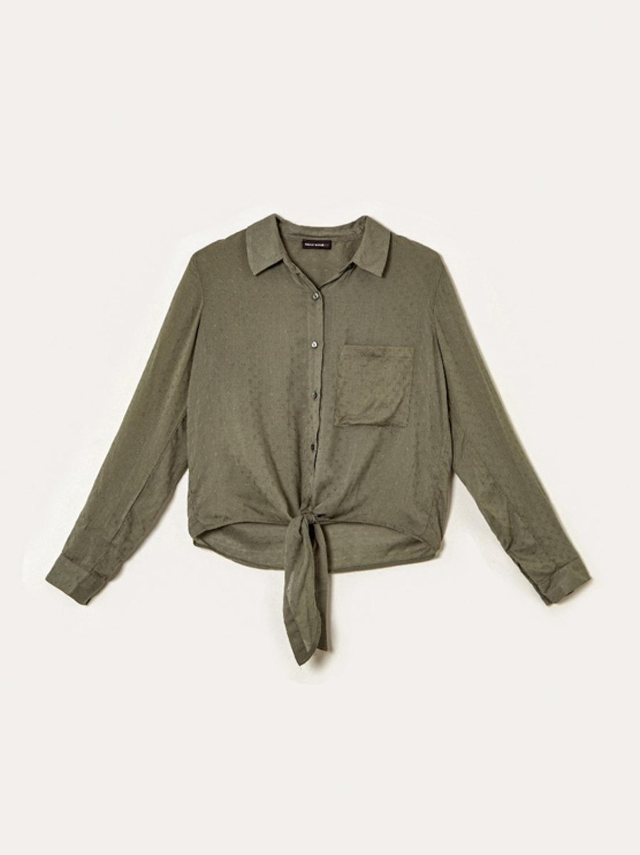 SWSMOFORUXY-DBR חולצה מכופתרת קשירה זית
