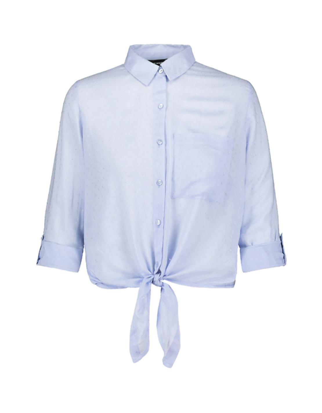 SWSMOFORUXY-EM חולצה מכופתרת קשירה תכלת