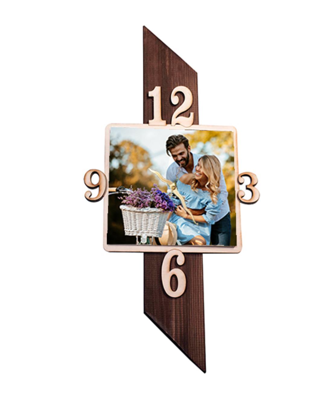 הדפסה על שעון עמוד עץ בצורת ריבוע