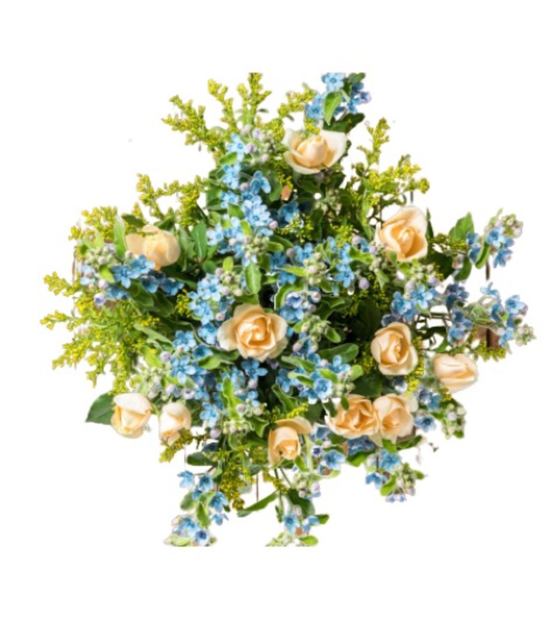 זר פרחים תכלת