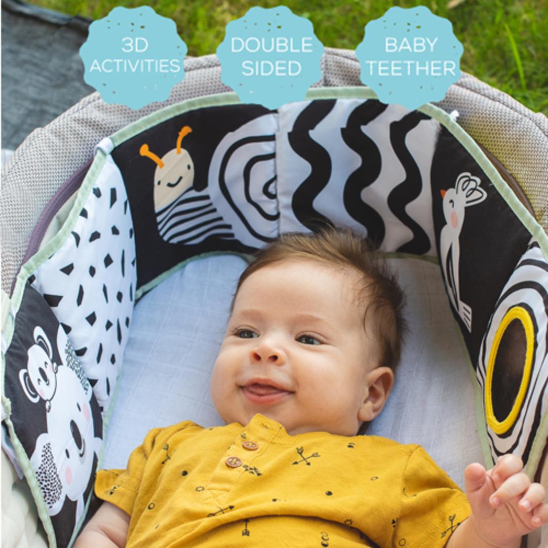 50# - ילד של אבא : מתנה לתינוק המתוק בקופסת בד לצעצועים המכילה ספר בד, שמיכה, כדור תחושות קטיפתי, בובת מקל מרשרשת וכובע