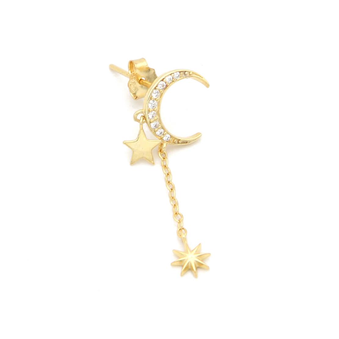 עגילי לונה זירקונים - כסף 925 בציפוי זהב מיקרוני