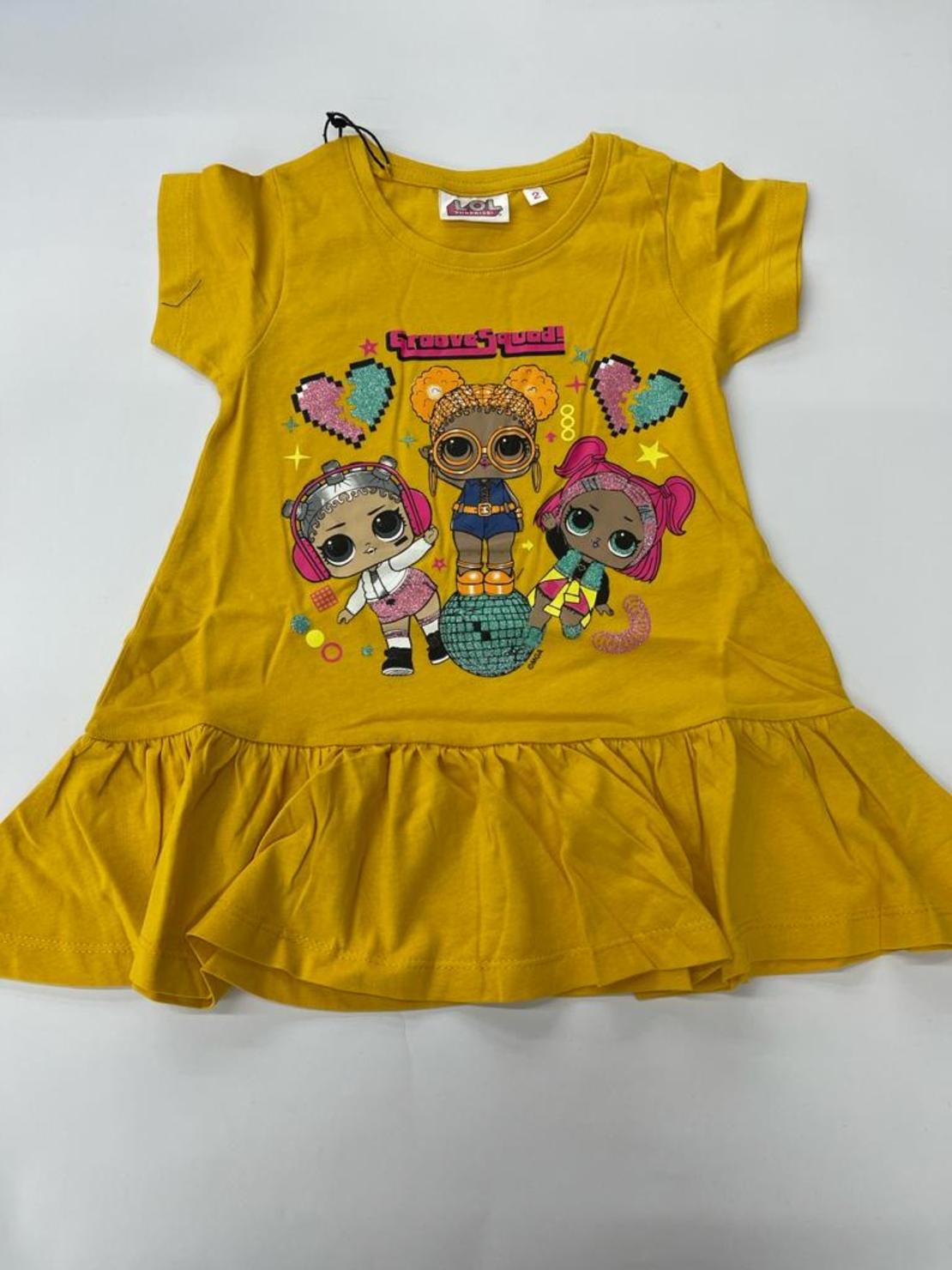שמלה בנות לול 100% כותנה 2-12 (שחור\טורקיז\אפור\צהוב)