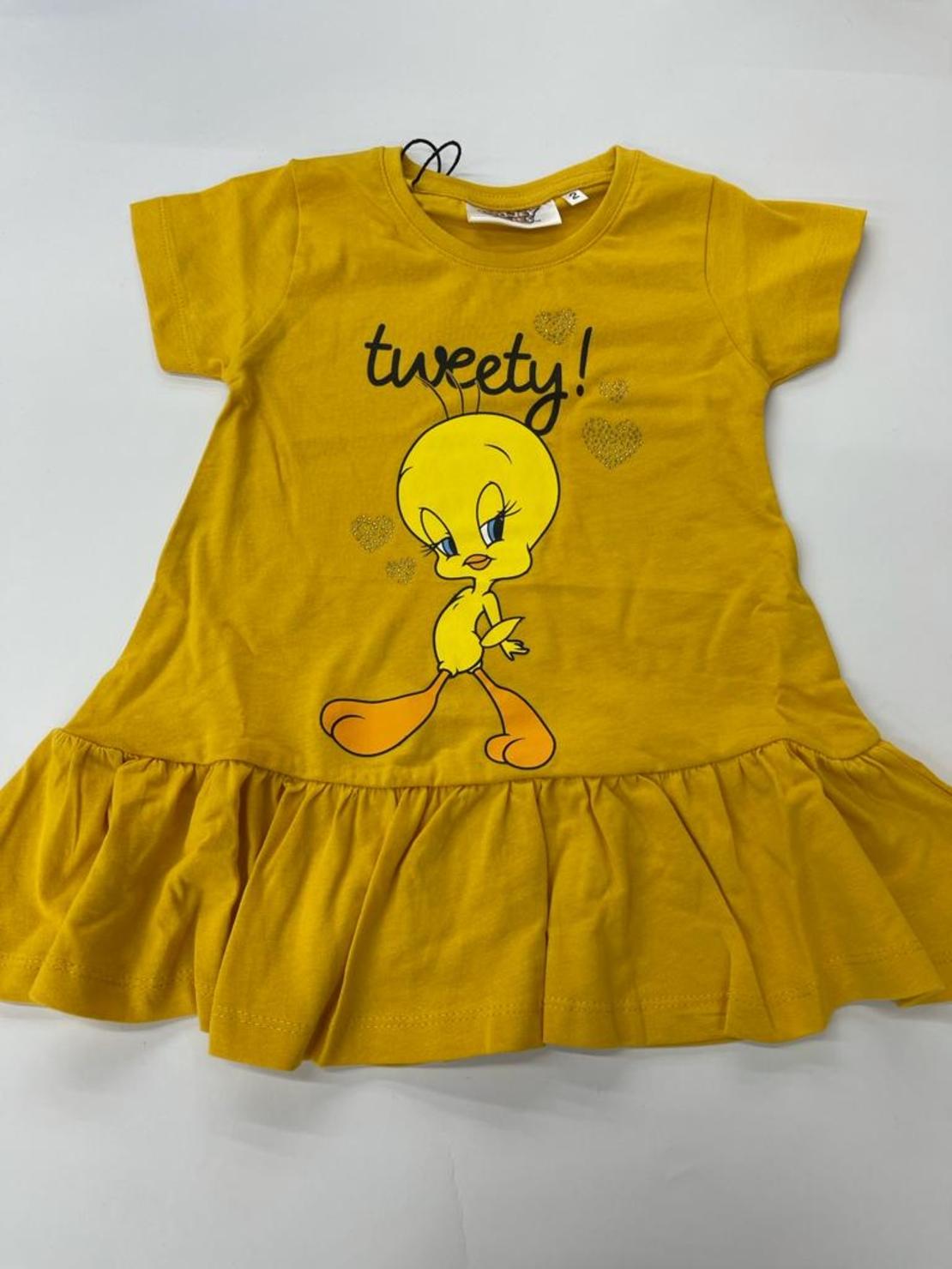 שמלה בנות טוויטי 100% כותנה 2-12 FOCUS (ורוד\אפור\צהוב\לבן)