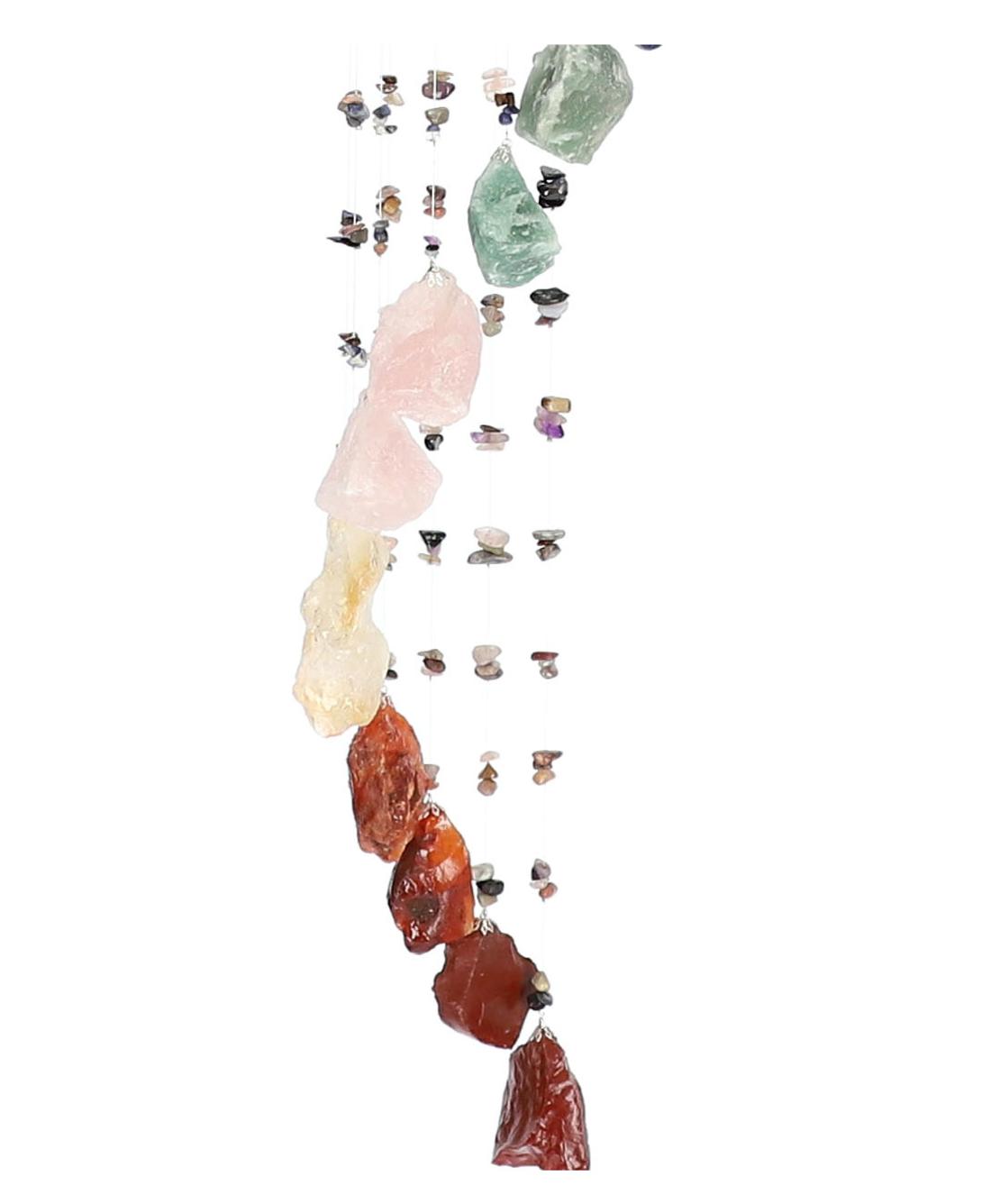 מובייל ספירלה משולב אבני צ'אקרות גולמיות 17 זרועות 90 ס