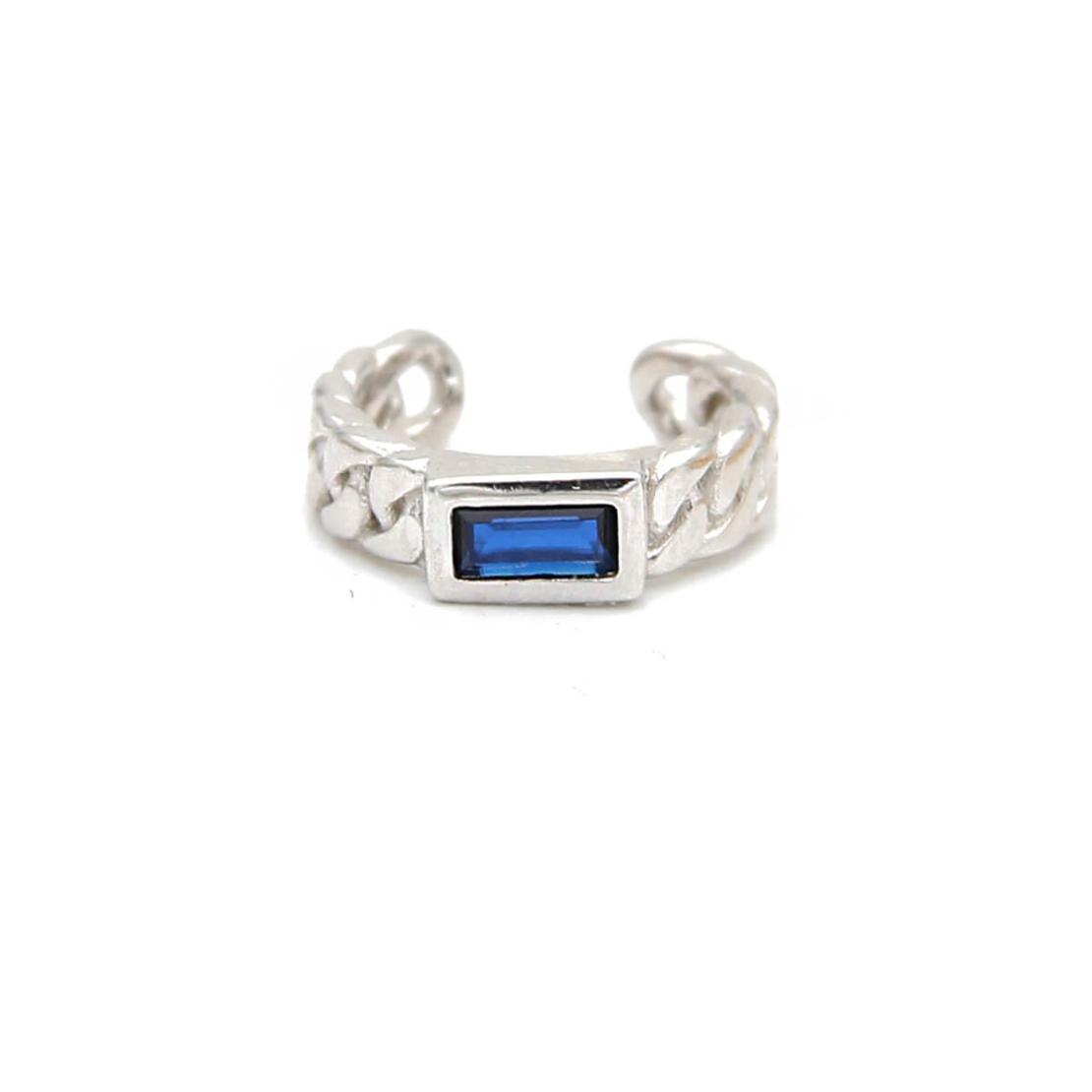 עגיל חבק גורמט זירקון כחול - כסף 925