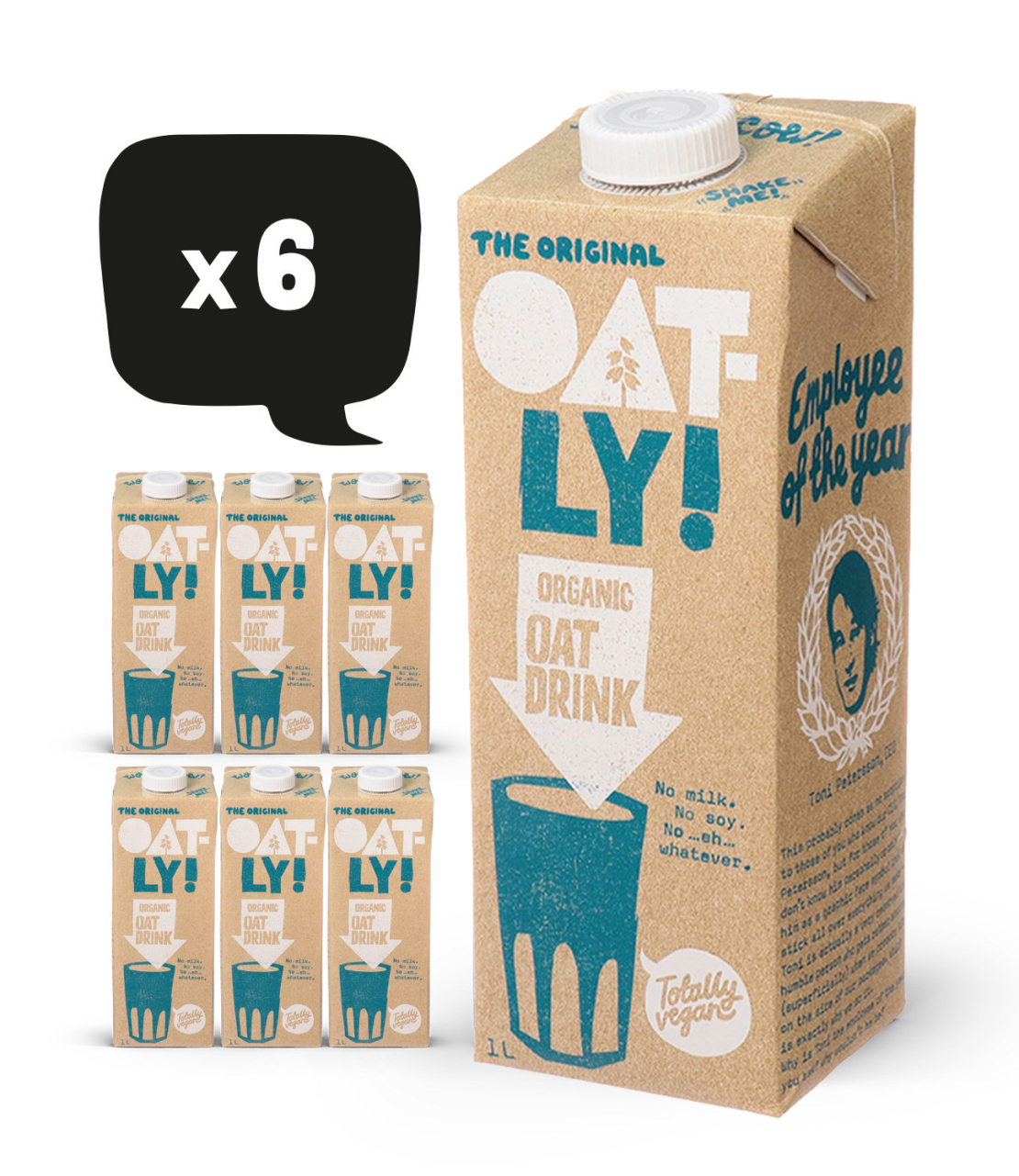 אוטלי משקה שיבולת שועל אורגני 1 ליטר - מארז 6 יחידות